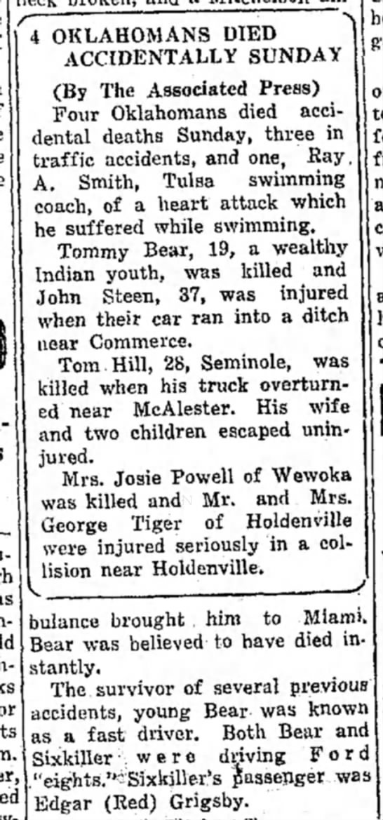 Part 2-Accident near Saffell Cafe, Commerce, OK 1933 - in. OKLAHOMANS DIED ' ACCIDENTALLY SUNDAY (By...