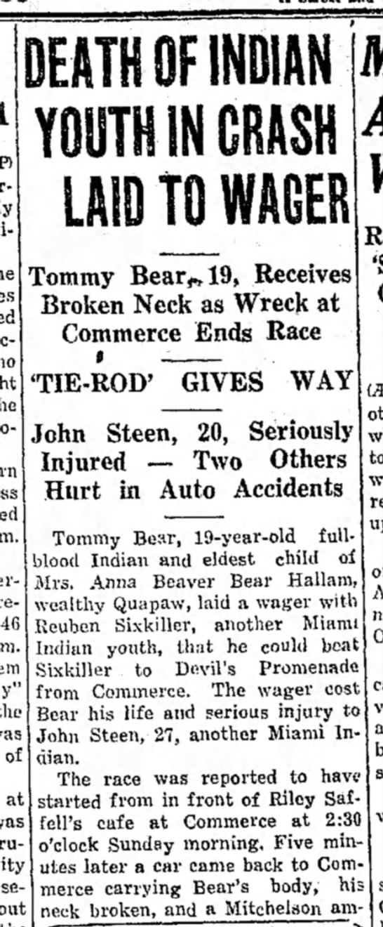 Part 1- Accident near Saffell Cafe, Commerce,OK 1933 - the of at DEATH OF YOUTH IN CRASH LAID TGI...