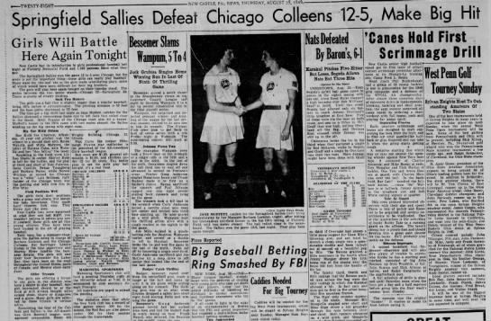 Springfield Sallies Defeat Chicago Colleens, 1949 - ■ NcW CASTLE, PA:, NEWS, THURSDAY, AUGUST 25,...
