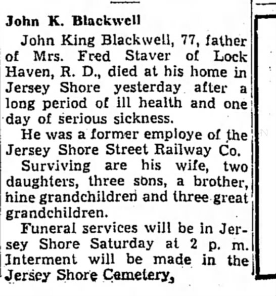 John King Blackwell obituary - John K. Blackwcll John King Blackwell, 77,...