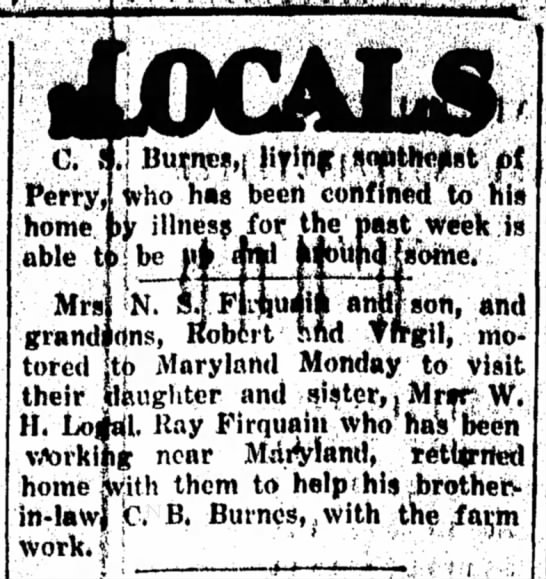 Firquain, N.S.Mrs (Perry,OK 1930) - ,. who has been confined Perry, home able...