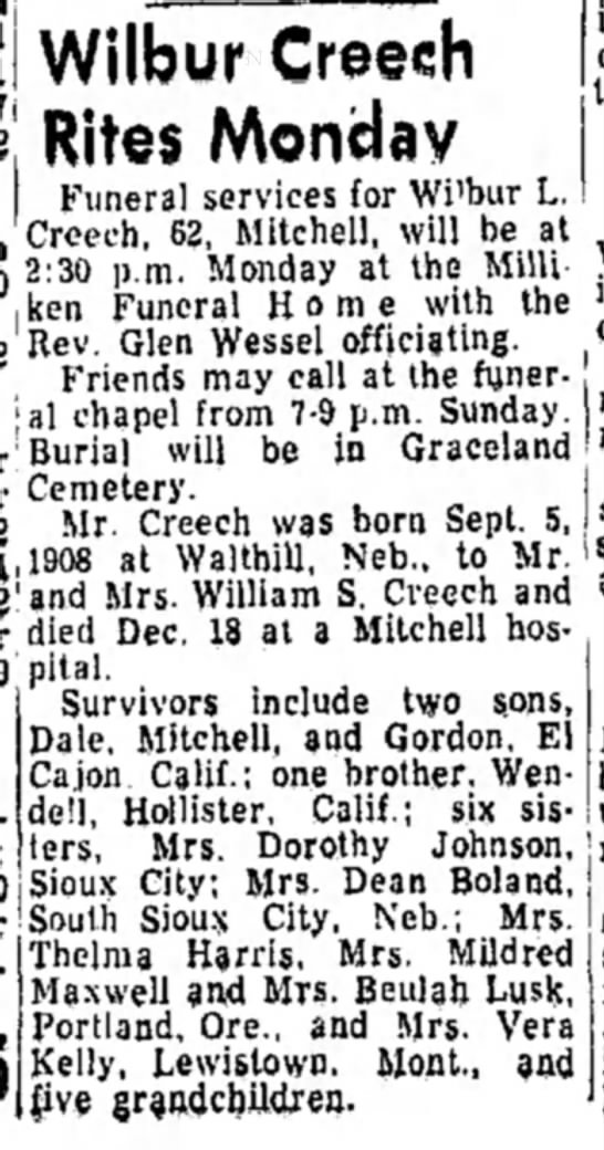 - Wilbur Creech Rites Funeral services for Wi'bur...