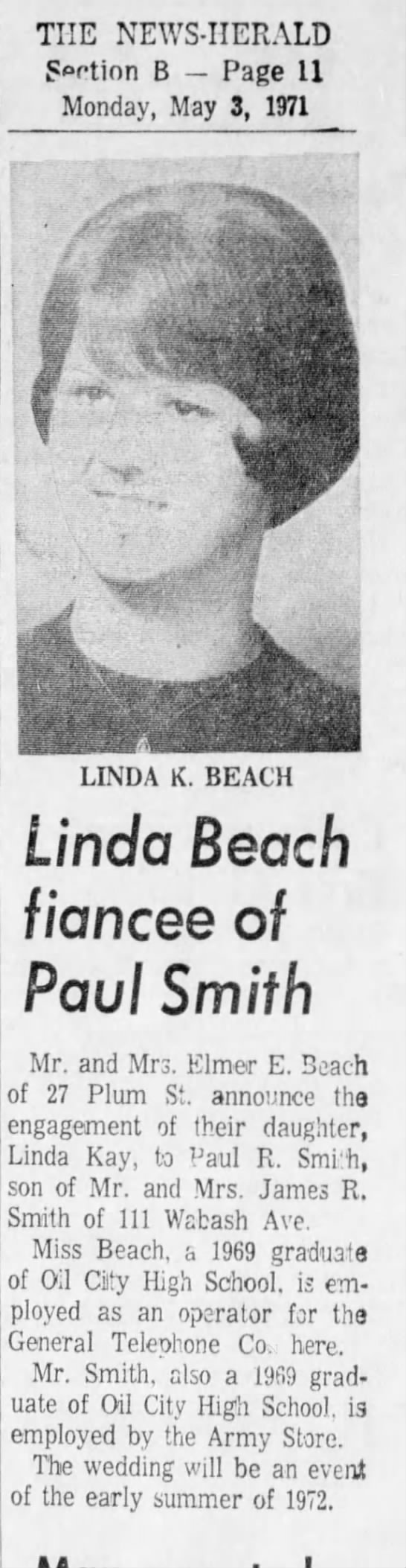 Linda Beach & Paul Smith engagement announcement May 1971 - THE NEWS-HERALD NEWS-HERALD NEWS-HERALD Srtion...