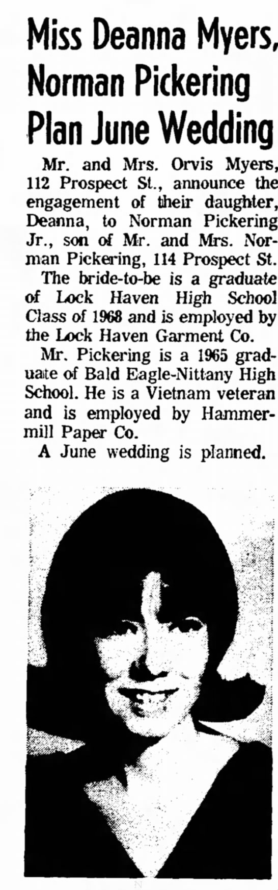 Norm and Deanna's engagement 1968 - Miss Deanna Myers, Norman Pickering Plan June...