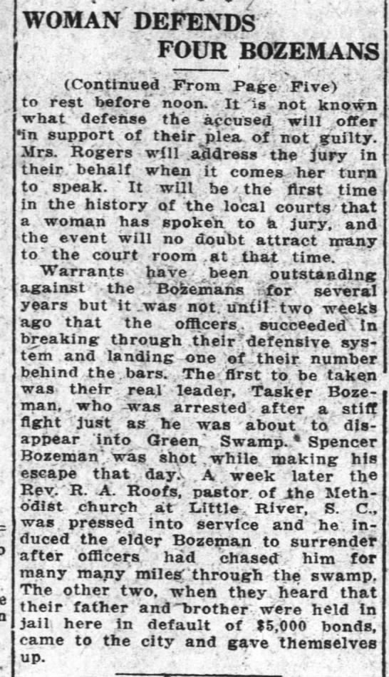 Wilmington Morning Star 21 Nov 1919 pg6 continued from pg 5 - WOMAN DEFENDS FOUR BOZEMANS (Continued From...