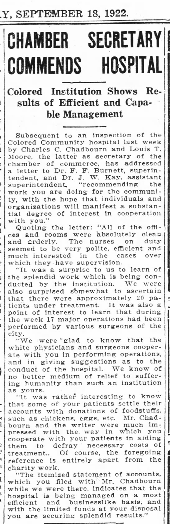 Community Hospital - SEPTEMBER 18, 1922. CHAMBER SECRETARY COMMENDS...