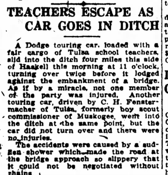 Accident - Fenstermacher - TEACHERS ESCAPE AS CAR GOES IN DITCH A Dodge...