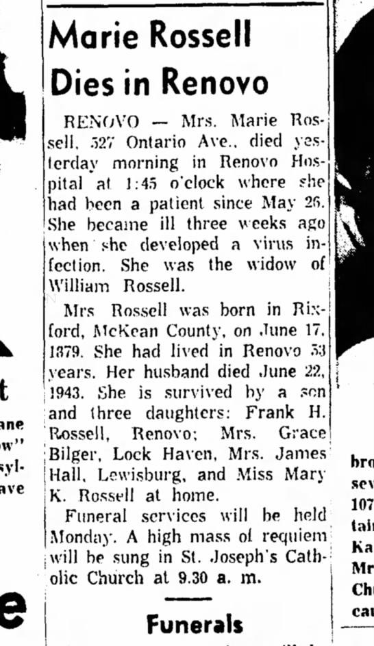 - Marie Rossell Dies in Renovo RENOVO — Mrs....
