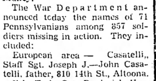 joseph casatelli mia - The War Department announced tcday the names of...