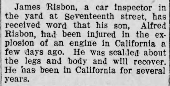 LOCAL BREVITIES. Brief Notes of Happenings in and About the City...James Risbon...Alfred Risbon - James Risbon, a car Inspector in the yard at...