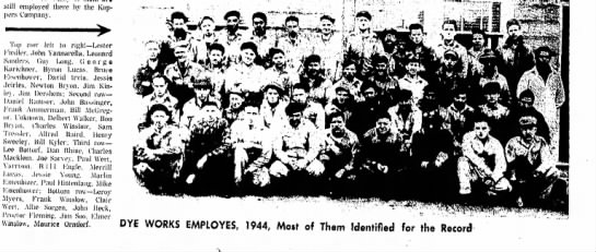 Pap Heck ,bottom row.# 5 right. - still employed there by the Hoppers Company....