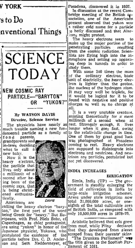 1938 Cosmic Ray Bohr Yukawa Watson Davis Dunkirk Evening Observer NY September 19 - YORK Pays to Do Conventional Things to salaries...
