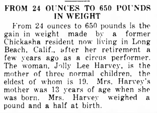 """Source:  Newspapers.comThe Indian Journal, Eufaula, Oklahoma     7 Oct 1937 - FROM 24 OUNCES TO 650 I'OUNDS IN WEIGHT t""""rom..."""
