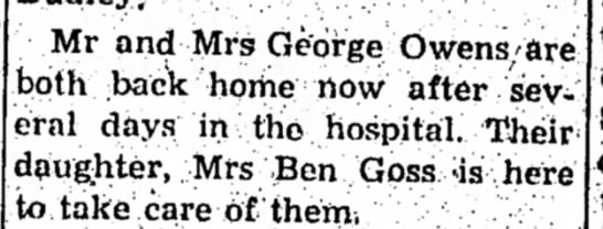 Owens-Goss, 16 Sept 1965 - Mr and Mrs George OwenS'Sre both back home now...
