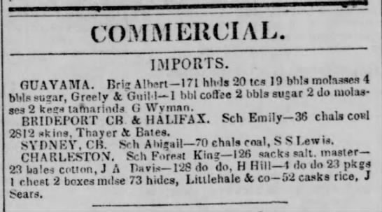 Guayama trade July 1840 - COMMERCIAL IMPORTS. GUAYAMA. Brij A!b«rt—171...