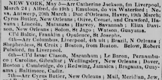 Guayama trade May1836 - Nf, VV \ ORK, May 5—Arr Catherine Jackson, fm...