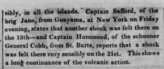 Earthquake June 1842 - sibly, in all th« islar.ds. * Captain Safford,...