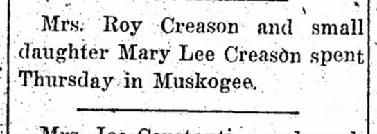 Roy Creason - Mrs. Roy Creason and small daughter Mary Lee...