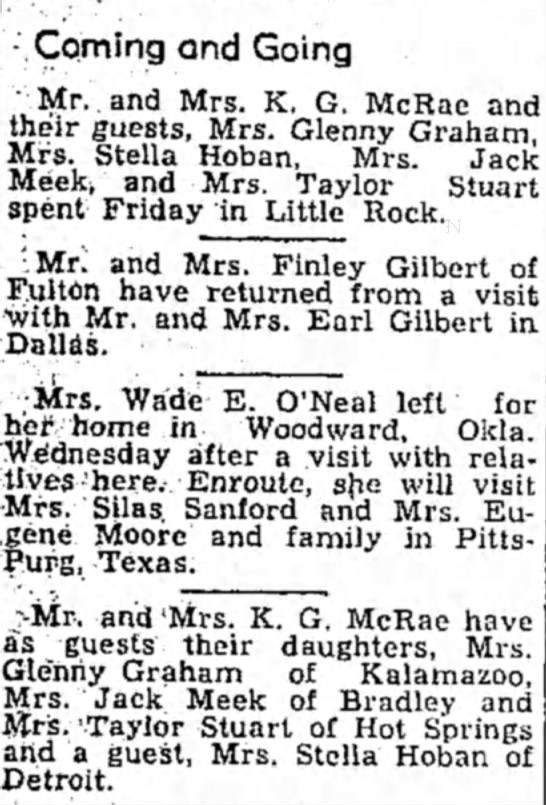 6-17-49 Nana visits Hope - -.Coming and Going ' Mr. and Mrs. K. G. McRae...