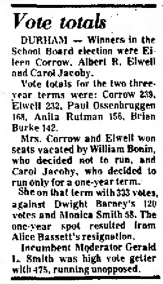 School Board Election Results 1977 - Come is Vote totals DURHAM -- Winner* in School...