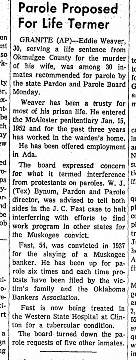 J.C. Fast, Jr. parole info, 23 May 1961 - on be be a Parole Proposed For Life Termer...
