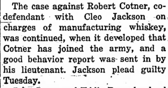 Robert Cotner manufacturing whiskey
