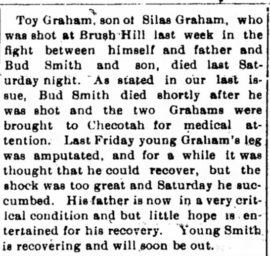 - Toy Graham, son ot Silas Graham, who was shot...