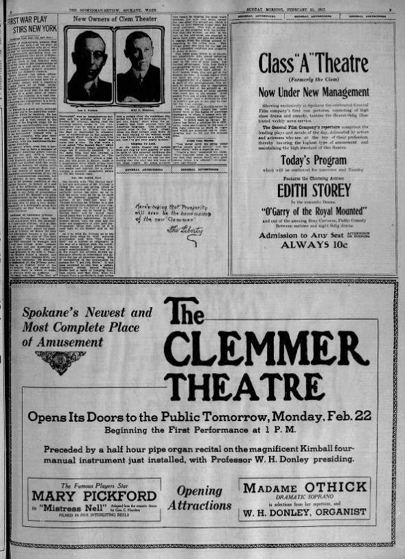 Clemmer theatre  and Class A                   opening