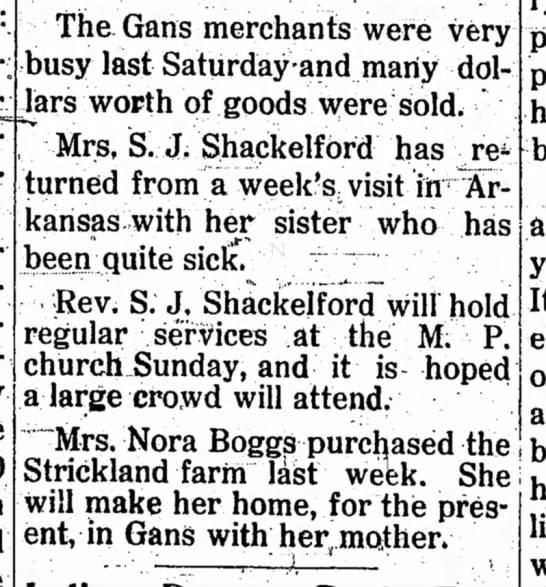 Rev & Mrs. Shackelford-news - The Gans merchants were very busy last...