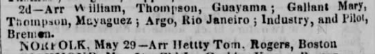 Guayama trade passengers June 1837 - 2d—Arr v\ tlliatn, Thompson, Guayama ; Gallant...