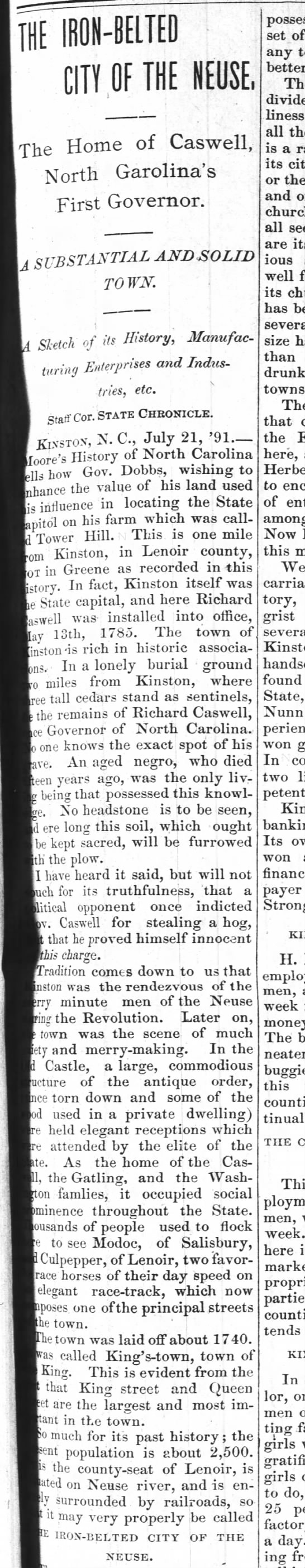 Kinston History  Iron Belted City The State Chroncile(Raleigh) July 23, 1891 pg. 7 - THE IRON-BELTED IRON-BELTED IRON-BELTED niTu nr...