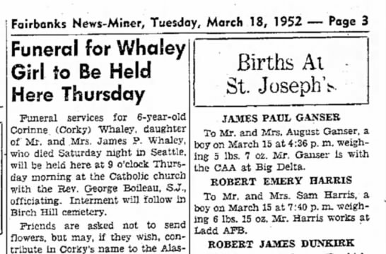 Birth announcement  - Fairbanks News-Miner, Tuesday, March 18, 1952 —...