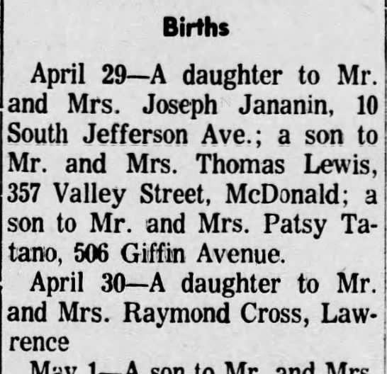 Susan' birth - Births April 29 A daughter to Mr. and Mrs....