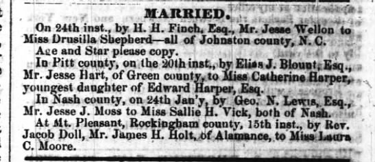 Marriage of Jesse J Moss to Sallie H Vick announcement - MARRIED HTj-:i Vilff On 24th inst., by 1L H....