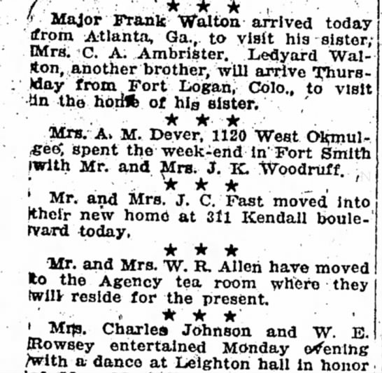 J.C. Fast family moved into new home - i) Major Frank Walton arrived today ifrorn...