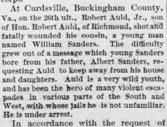 William Saunders shooting - At Curdsville, Buckingham County, Ara., on the...
