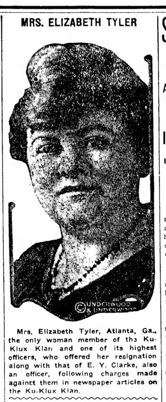 Oct.20, 1921 - MRS. ELIZABETH TYLER Mrs. Elizabeth Tyler,...