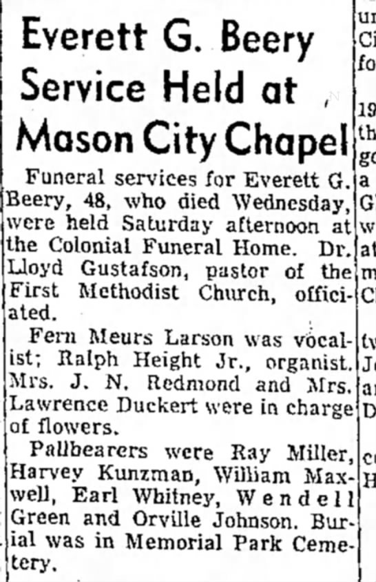 - Everett G. Beery Service Held at , Mason City...