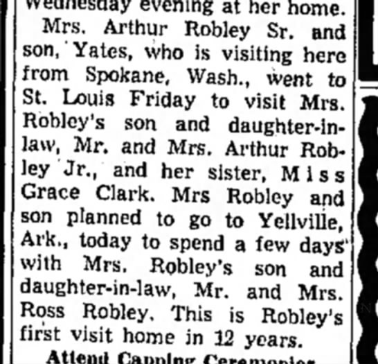 Yates Robley visiting Mom-Alton Even. Telegraphs-page 9-6 March 1954