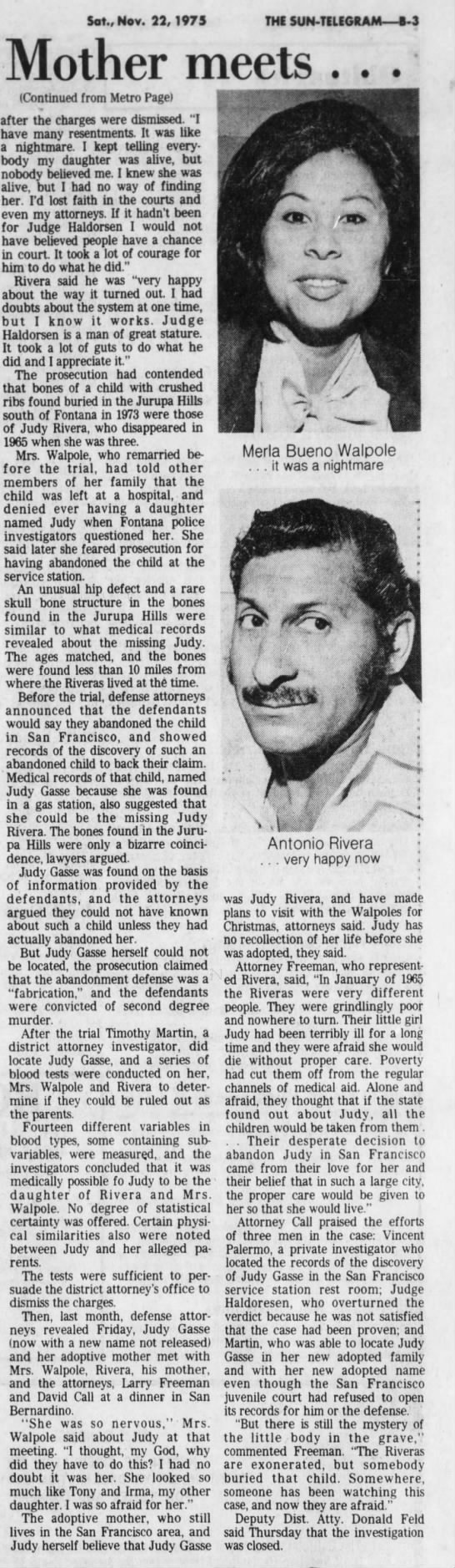 Nov 22, 1975 Judy Rivera, Page 2 - Sat., Nov. 22,1975 Mother meets . . ....