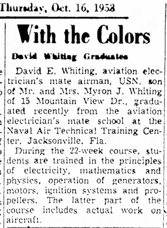 From the Berkshire Eagle, 16 Oct 1958, Elenas half sibling - Thursday. Oct. 16, 19.S3 two in With the Colors...