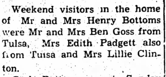 Goss & Padgett, 5 Mar 1959 - Weekend visitors in the home of Mr and Mrs...