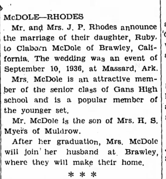 McDole-Rhodes marriage - McDOLE—RHODES Mr. and Mrs. J. P. Rhodes...