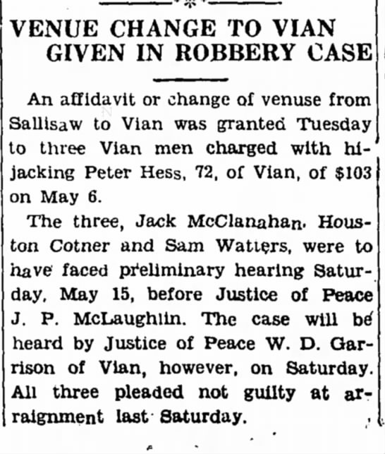 Peter Hess and Houston Cotner - VENUE CHANGE TO VIAN GIVEN IN ROBBERY CASE An...