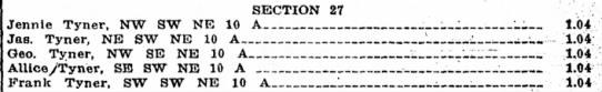 1915 Property & Tax - SECTION 27 Jennie Tyner, NW SW NE 10 A :_— —_...