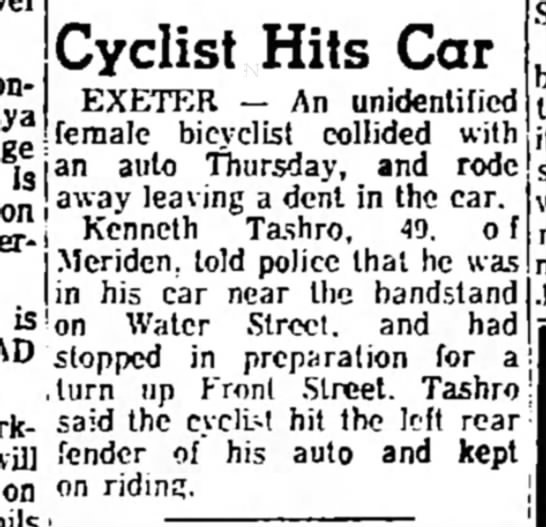 Cycle hits car - con- Cyclist Hits Car EXETER -- An unidentified...