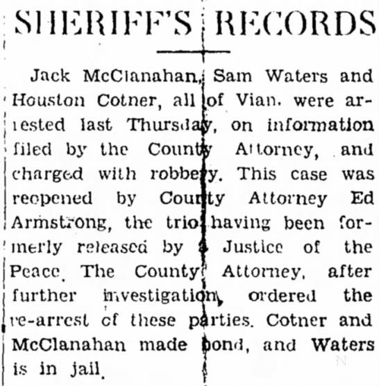 Houston CotnerJune 24, 1937The Democrat American (Sallisaw) - , • , _ ; kt I Jack McClanahan,: ' Houston...