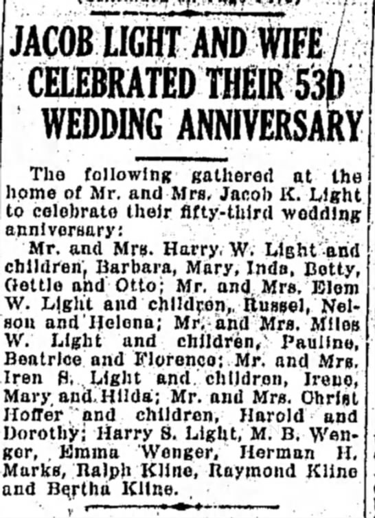 - JACOB LIGHT AND WIFE/ CELEBRATED THEIR 53f)...