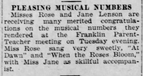 Rose and Jane have talent-1921 - - PLEASIXG MUSICAL JUDOS Misses Rose and Jane...