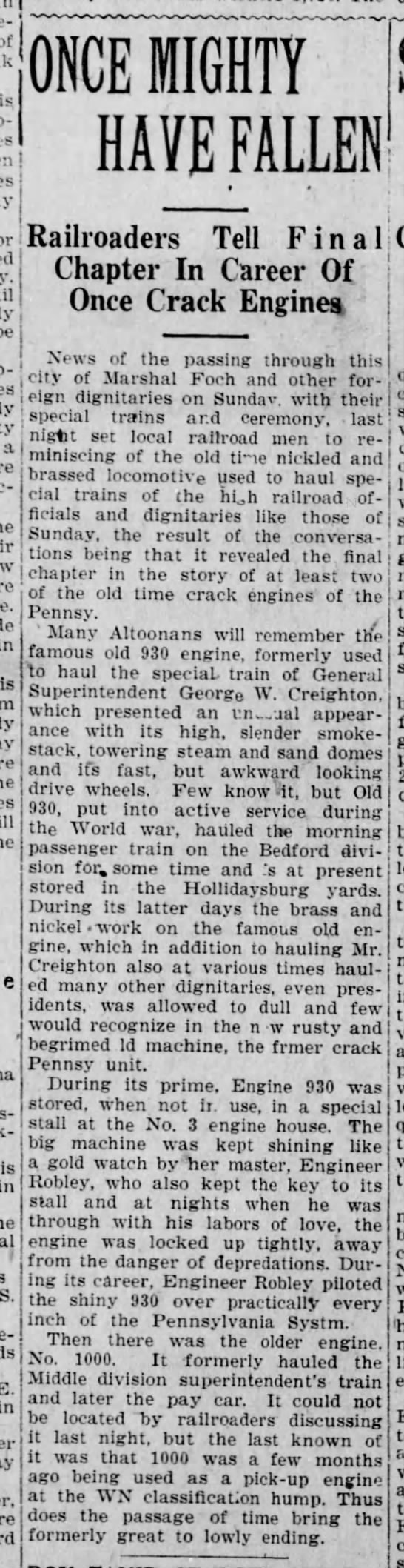 Robley-Engine-Altoona Tribune-28 Oct 1921 p4 - of is be prop-' prop-' t a is Brook- is in ' S....